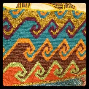 Yellow ,orange , purple  👜BAMBOO summer tote bag